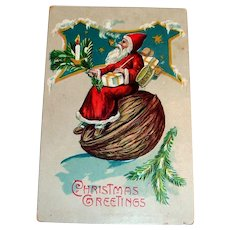 Christmas Greetings Postcard (Santa Riding Down A Hill On A Walnut)