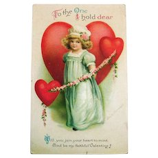 To The One I Hold Dear Valentine Postcard - Clapsaddle
