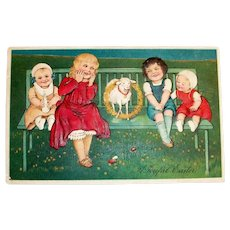 A Joyful Easter Postcard (Children & Lamb Sitting On Bench)