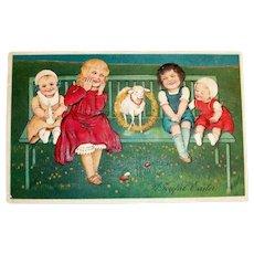 A Joyful Easter Postcard (Children & Lamb Sitting On Bench)