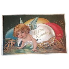 Easter Greetings Postcard (Angel Coming Out Of Egg)