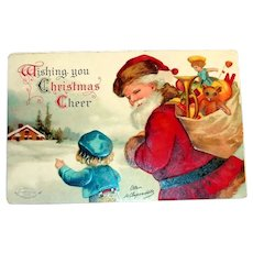 Clapsaddle: Wishing You Christmas Cheer Postcard (Santa with Boy & Bag of Toys)