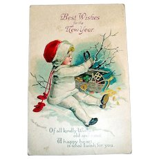 Best Wishes For The New Year Postcard (Little Girl With Good Luck Charms)