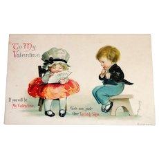 To My Valentine Postcard (Shy Girl & Boy) - Clapsaddle