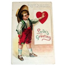 Love's Greetings Postcard (Country Boy with Heart) - Clapsaddle
