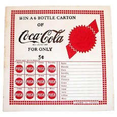 Coca Cola Win A 6 Bottle Carton Punch Card