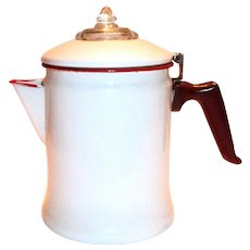 White  With Red Trim Enamel Percolator Stove Top Coffee Pot