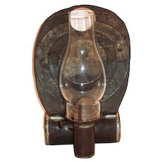 Old Tin Oil Hanging Barn Hurricane Lamp With Cylinder Reservoir
