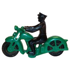 Hubley Toy Plastic Policeman Motorcycle