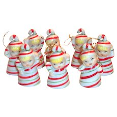 8 Porcelain Tiny Candy Cane Girl Bells In Original Box