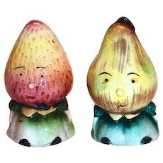 Anthropomorphic Strawberry & Pear Porcelain Salt & Pepper Shakers