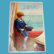 Lautz Bros. Acme Soap Trade Card (Boy Watching Ship)