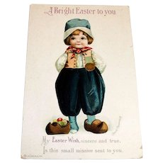 A Bright Easter To You Postcard (Cute Little Dutch Boy)