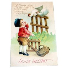 Easter Greetings Postcard (Please Fill My Basket With Eggs)