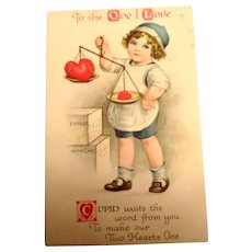 To The One I Love Valentine Postcard (Boy Weighing Hearts)