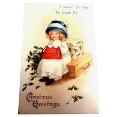 Christmas Greetings Postcard (Little Girl Waiting) - Clapsaddle