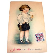 A Merry Christmas Postcard (Boy Holding a Bunch of Mail)