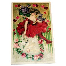 Winsch: St. Valentine's Greeting Postcard (Lady In Red)