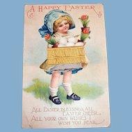 A Happy Easter Postcard (Little Girl with Blue Bonnet & Basket)