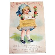 A Happy Easter Postcard (Little Girl with Blue Bonnet & Basket)