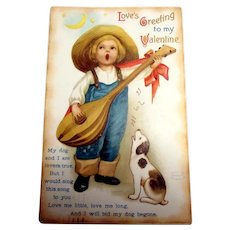 Clapsaddle: Love's Greeting To My Valentine (Boy Playing A Lute)