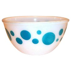 "Federal Glass Turquoise Dots 7""Rd Bowl"