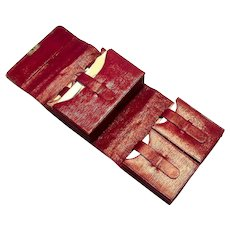 Sterling tips Red Leather Playing Cards Case With Vintage Cards