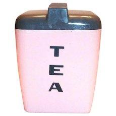 Burroughs Mfg. Corp.: Retro Pink & Gray Plastic Tea Canister