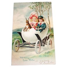 With Loving Easter Wishes Postcard (Fantasy: Kids in Egg Car)