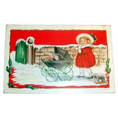 Hellow! Merry Christmas Postcard (Little Girl Pushing Baby Carriage)