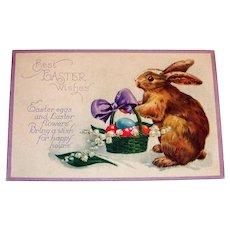 Best Easter Wishes Postcard (Rabbit Delivering Basket of Eggs)
