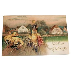 Easter Greetings Postcard (Anthropomorphic Top Hat Chick)