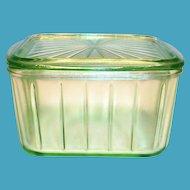 Anchor Hocking Green Depression Vaseline Glass Refrigerator Dish