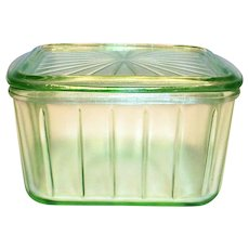 Anchor Hocking Green Depression Vaseline Glass Refrigerator Dish