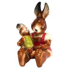 Goebel W. Germany Bavarian Rabbit Holding a Rabbit Doll Figurine