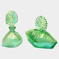 Vaseline Glass 2 Piece Perfume Bottle & Trinket Box Set