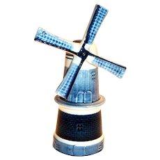 Distel Delft's Blue & White Porcelain Windmill Figurine
