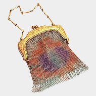Rainbow Colored Mesh Coin Purse With Chain Handle