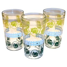 Jeanette Glass Co. Yellow & Green Leaves With A Picket Fence Peanut Butter Glass