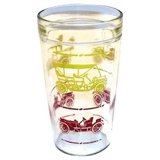 Jeanette Glass Co. Vintage Cars Design Peanut Butter Glass