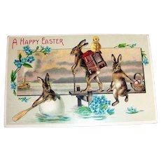 A Happy Easter Postcard (Fantasy Rabbit Organ Grinder)