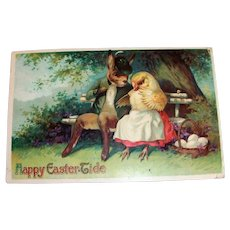 Happy Easter Tide Postcard (Rabbit & Chick Courting)