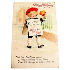 A Happy New Year Postcard (Boy Ringing In The New Year)