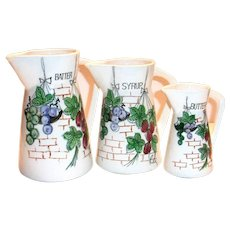 Arco 3 Piece Batter, Syrup & Butter Porcelain Pitchers