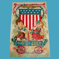The 4th Of July Postcard (Children in Wagon Celebrating)