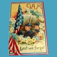 GAR, Lest We Forget Memorial Postcard - Clapsaddle