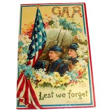 GAR, Lest We Forget Memorial Postcard - Clapsaddle