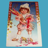 4th Of July Postcard (Boy with Rockets)