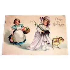 A Bright & Happy Easter Postcard (Lady With Chick On A Leash)