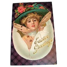 Easter Greetings Postcard (Lady Hatching From Egg)
